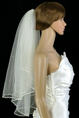 Bridal Veil Ivory 2 Tiers Cathedral Length Satin Cord Edge Scattered Rhinestones
