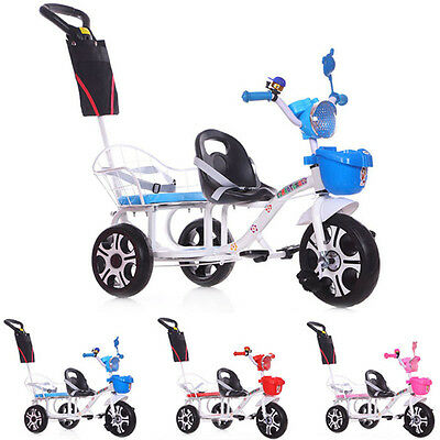 New Baby Twins Stroller Child Trike Double Tricycle Ride-On Pram Steering Buggy