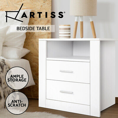 Bedside Table Retro Cabinet 2 Drawers Shelf Side Nightstand Unit Storage