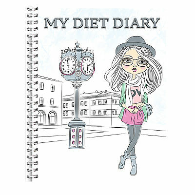 Wire Bound A5 Diet Diary Slimming Tracker Food Diary Weight Loss Journal Girl 2