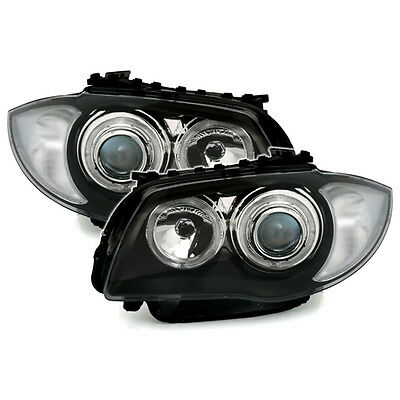 Bmw 1 Series E87 Hatchback 2003-2010 Black Angel Eye Halo Headlights Pair