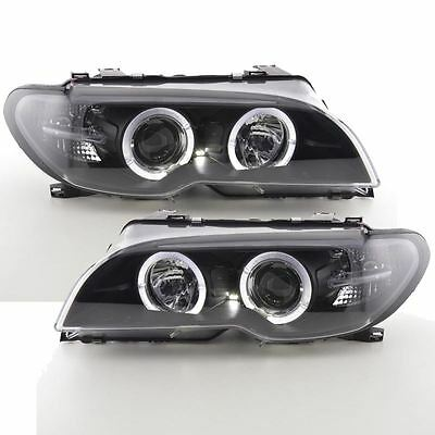 Bmw 3 Series E46 Coupe/cabriolet 2003-2006 Black Angel Eye Halo Headlights Pair