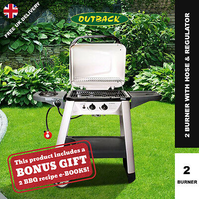 Outback Excel 2 Burner Outdoor Gas BBQ Hooded Barbecue Grill with Side Burner