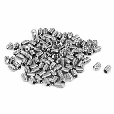 M3x5mm Stainless Steel Cone Point Grub Screws Hex Socket Set Screw 100pcs