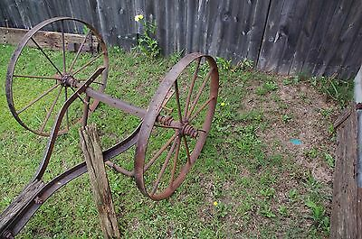 Antique Metal Rustic Wagon Wheels with sprocket Axle  Garden Yard western art