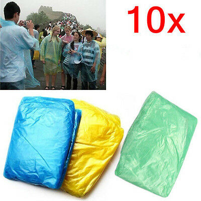 10X Disposable Adult Emergency Waterproof Raincoat Poncho Hiking Camping Hood UK