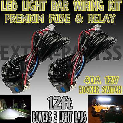 12v wiring harness kit strobe remote control switch for led light 2x 40a 12v wiring harness kit laser switch relay led light bar off road truck