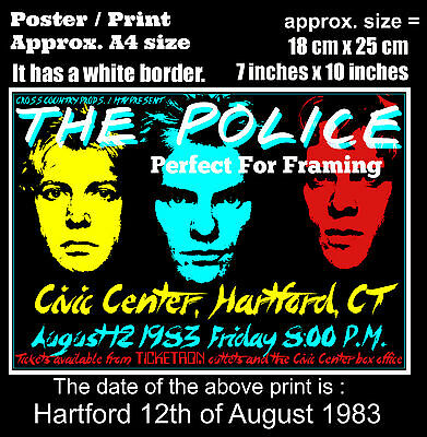 The Police live concert Civic Hartford 12th of August 1983 A4 size poster print