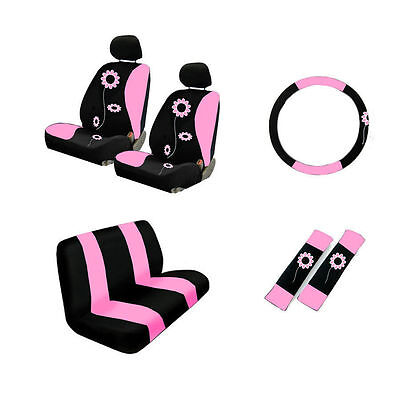 Cool Brand New Set Pink Sunflower Car Seat Covers Steering Wheel Andrewgaddart Wooden Chair Designs For Living Room Andrewgaddartcom