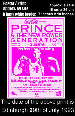 Prince live concert Edinburgh Meadowbank 19th of July 1993 A4 size poster print
