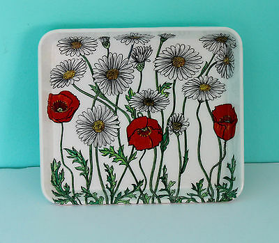 "Vintage Mebel Poppies & Daisies Melamine Tray White Made in ITALY 5.5"" x 4.75"""