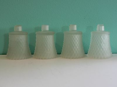 Set Of 4 Vintage Homco/home Interior Diamond Point Frosted Glass Votive Cups
