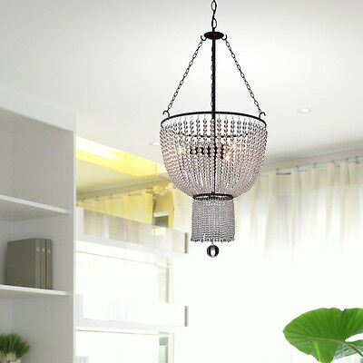 Connie Antique Black 3-Light Chandelier with Crystal Beads