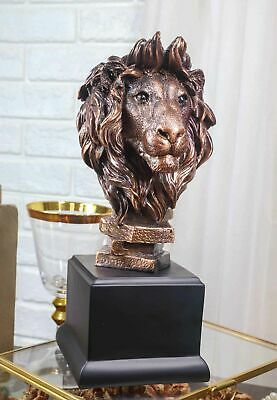 King Of The Jungle African Lion Pride Bust Bronze Electroplated Figurine Statue