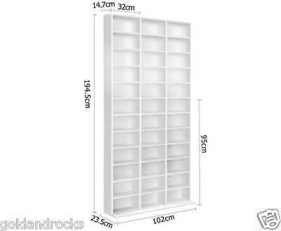 Brand New Adjustable CD DVD Book Storage Shelf White Holds 1116 CDs or 528 dvd's