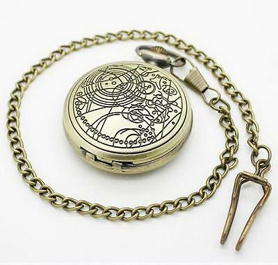 Movie Doctor Who Retro Copper quartz Pocket Watch necklace pendant Timelord @