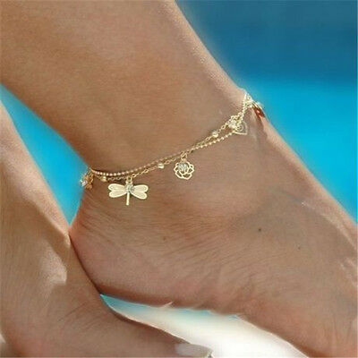 Women Sexy Gold Dragonfly Ankle Chain Bracelet Anklet Foot Jewelry Sandal Beach