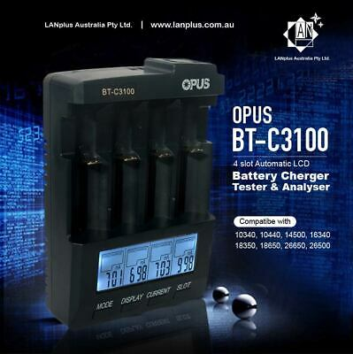 Opus BT-C3100 V2.2 4-Slots Smart Battery Charger Li-ion NiMH 18650 18500 16340