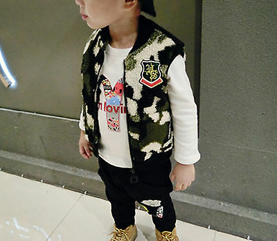 Girl Kid Boy Children Chic Fleece handsome Camo green Warm Vest Top 2-6years