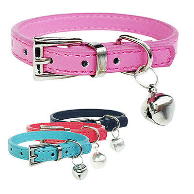 Faux Leather Pet Dog Collars Cat Puppy Bell Pendant Buckle Neck Band Great