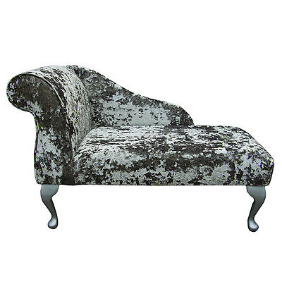 Small Chaise Longue Chair in a Lustro Flint Fabric