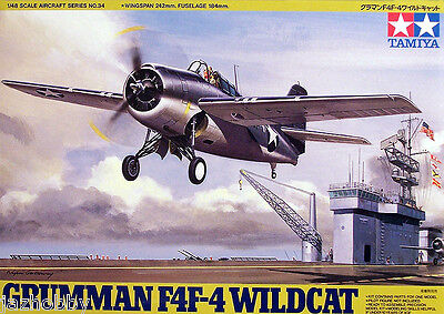 Tamiya 61034 1/48 Scale Model Aircraft Kit U.S.Navy Grumman F4F-4 Wildcat