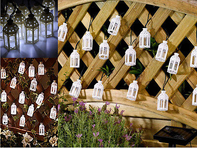New 10 White Moroccan Lantern Solar Garden Led Outdoor Fairy String Party Lights