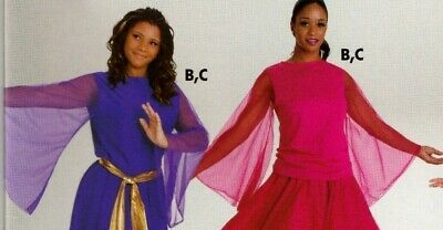NWOT Praisewear Liturgical Dance Top Chiffon Bell Sleeve 3 Color Choices Ad/Chld