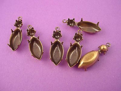 12 Brass Ox Double Prong Setting 15x7 navette  20ss  1 Ring Closed Back charm
