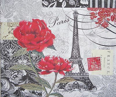 Eiffel Tower Paris Red Roses Image  Computer Mouse Pad 9 X 7