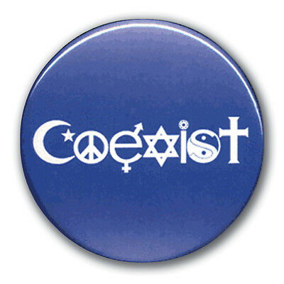 Coexist Button Pinback Blue 1.7-inch Religious Tolerance Tolerence Coexistence