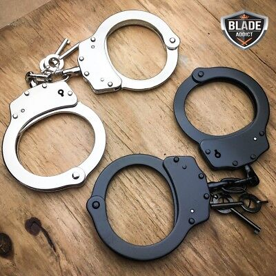 2 PC Professional Double Lock Steel Nickel Plated Police Handcuffs Real + KEYS