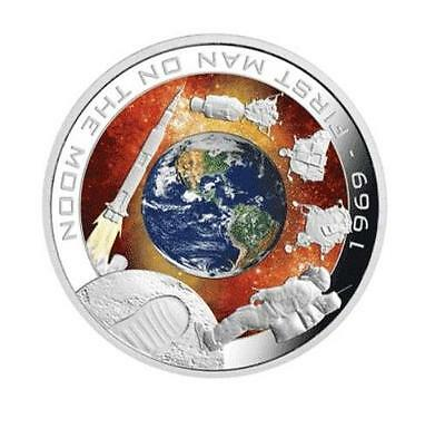Cook Islands 2009 1$ First Man On The Moon 1969 1Oz .999 Proof Silver Coin