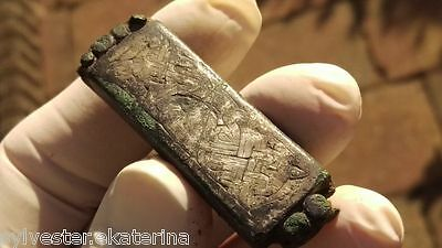 Viking/Merovingien- Mount Part of a Belt with Silver Inlay , 56 mm, uncleaned !