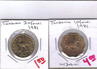 From Show Inv. -  2 UNC COINS.TANZANIA.10s w/ ZEBRA & 20s w/ OSTRICH.BOTH 1981