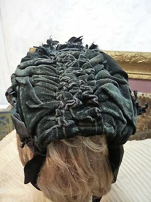 ANTIQUE HAT- MOURNING edwardian SILK AND VELVET very good condition