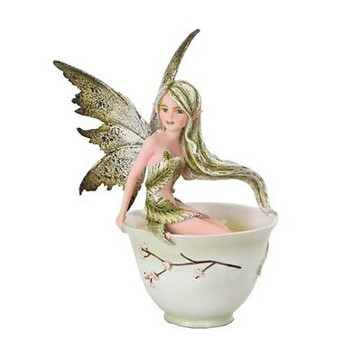 GREEN TEA FAIRY Figurine Faery Figure Amy Brown teacup faerie cup statue
