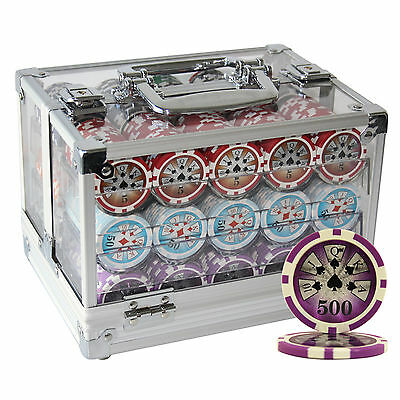 600 14G High Roller Casino Clay Poker Chips Set Acrylic Case Custom Build