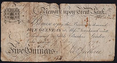 1792 NEWARK UPON TRENT BANK 5 GUINEAS BANKNOTE * SCARCE * G * Outing 1487 *