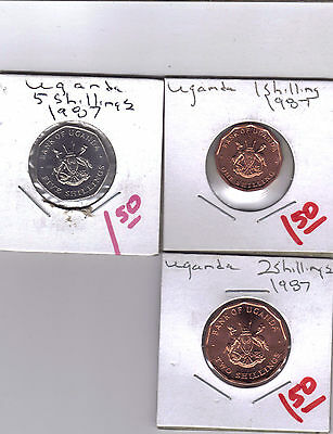 From Show Inv. -  3 UNC. COINS from UGANDA - 1, 2 & 5 SHILLINGS (ALL 1987)