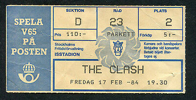 1984 The Clash Concert Ticket Stub Ice Stadium Stockholm Sweden London Calling