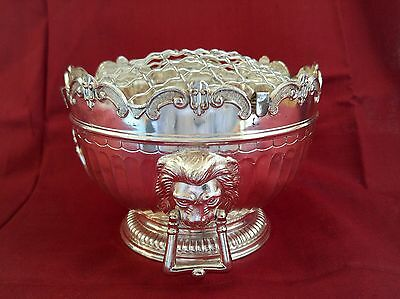 Vintage Corbell & Company C & Co Silver Plate Flower Frog w/ Lion Heads