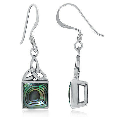 Abalone/Paua Shell 925 Sterling Silver Triquetra Celtic Knot Dangle Earrings