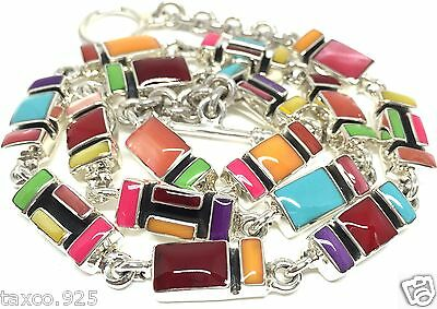 Taxco Mexican 925 Sterling Silver Multi Inlay Necklace Mexico