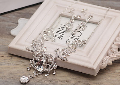 Women Lady Crystal Ball Rhinestone Wedding Bridal Party Necklace Earrings Set
