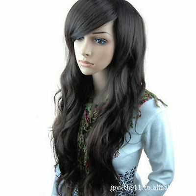 Women Lady Girl Black Fancy Party Function Wavy Curly Long Hair Full Wig Wigs