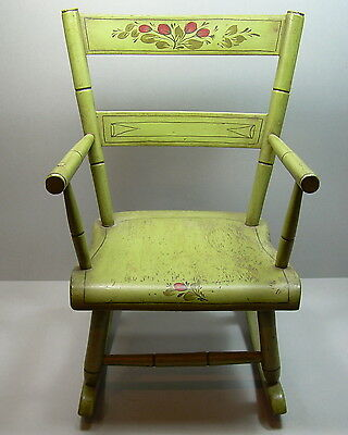 Vintage Handpainted Folk Art Childs Rocker Rocking Chair Signed  DEW Green Red