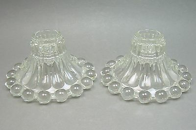 A Pair of Vintage 1940s Anchor Hocking Boopie Glass Candlestick Candle Holders