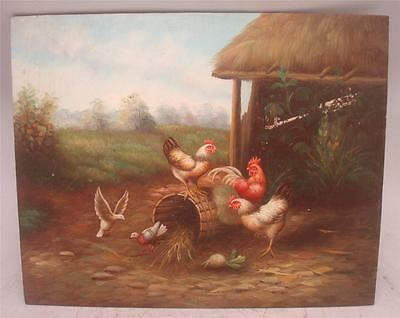 "Hand Painted Oil Painting - Farmyard Scene Chickens Birds - 10"" x 8"""
