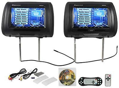 "New Rockville RDP931-BK 9"" Black Car DVD/USB/HDMI Headrest Monitors+Video Games"